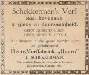 advertentie - Electrische Verffabriek 'Hoorn' -  J. Schekkerman