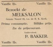 advertentie - Melksalon P. Bakker