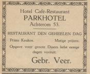 advertentie - Hotel Café-Restaurant Parkhotel
