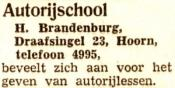advertentie - H. Brandenburg  - Autorijschool