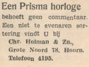 advertentie - Chr. Holman en Zn.