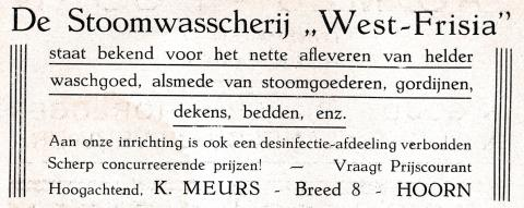 advertentie - Stoomwasscherij West-Frisia