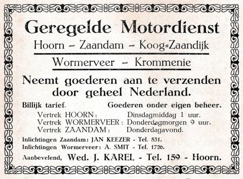 advertentie - Geregelde Motordienst Wed. J. Karel
